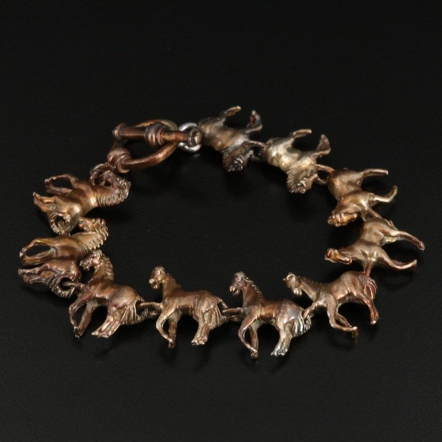 Sterling Silver Equestrian Link Bracelet