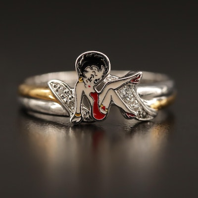 Sterling Silver Enameled Betty Boop Ring with Cubic Zirconia Accents