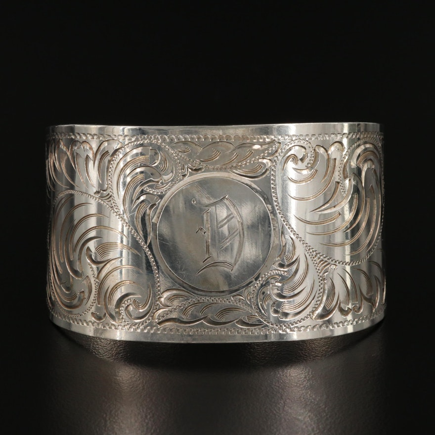 Vintage Sterling Silver 'D' Scrollwork Cuff