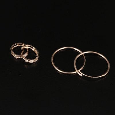 14K Hoop Earrings with Cubic Zirconia