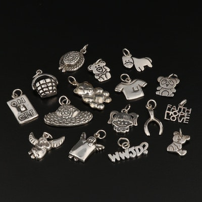Collection of Sterling Silver Charms Including Teddy Bear and Wishbone Charms