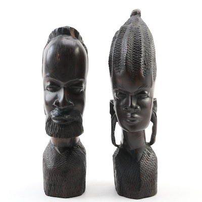 Carved Ebony Figures Male and Female Bust, Vintage