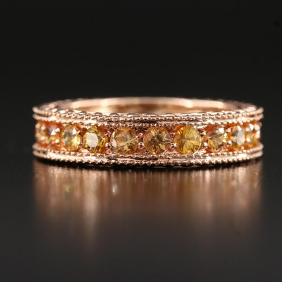 14K Rose Gold 4.00 CTW Yellow Sapphire Eternity Ring