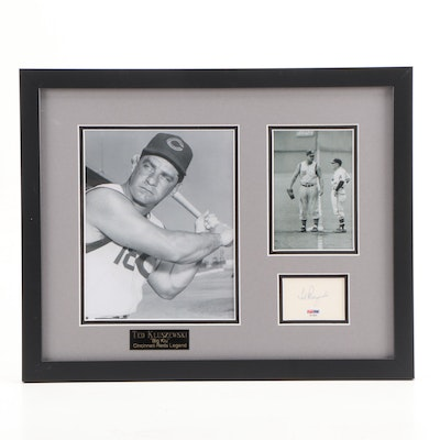 Ted Kluszewski Cincinnati Reds Cut Signature Photo Display Framed PSA/COA