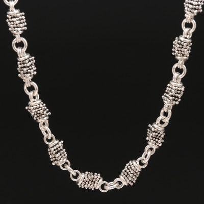 Sterling Silver Beaded Link Necklace