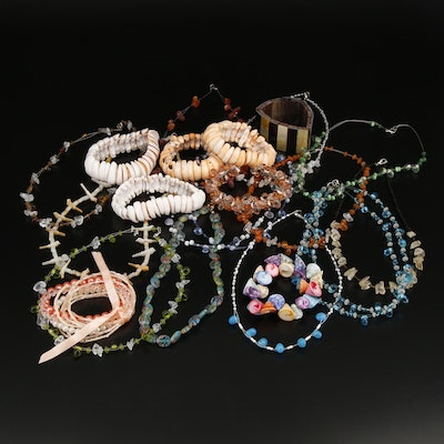 Collection of Necklaces and Bracelet Including Millefiori Glass Beaded Necklaces