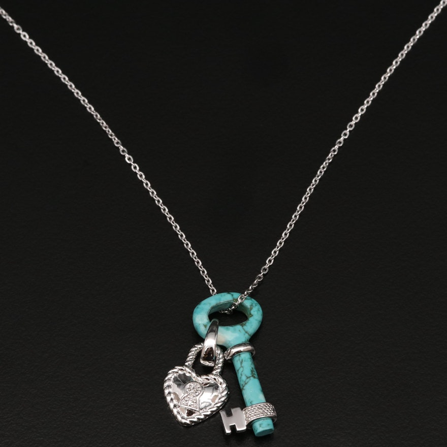Sterling Silver Turquoise and Diamond Key and Heart Lock Pendant Necklace