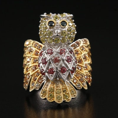 Sterling Silver Owl Ring Featuring Blue, Orange, and Yellow Sapphires