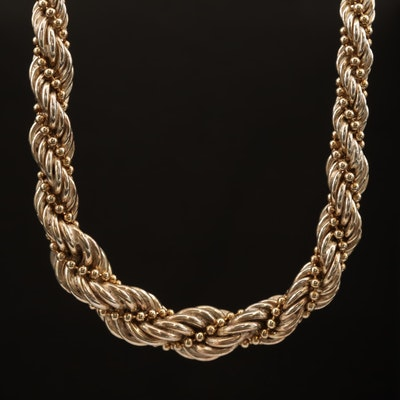 Sterling Graduated Entwined French Rope and Ball Chain Necklace