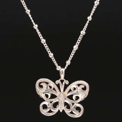 Sterling Silver Diamond Butterfly Pendant Necklace
