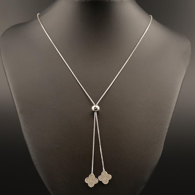 Sterling Quatrefoil Cubic Zirconia Bolo Necklace
