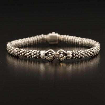 "Lagos Signature Caviar Sterling ""Derby"" Diamond Bracelet"
