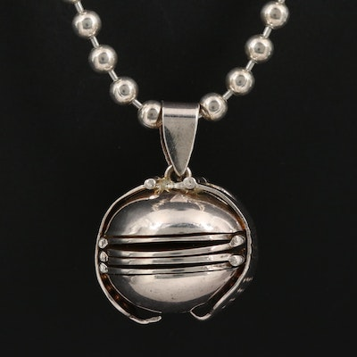 Sterling Silver Picture Locket Pendant Necklace