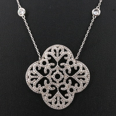 Sterling Silver Quartrefoil Pendant Station Necklace
