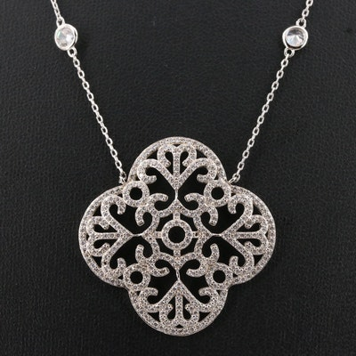 Sterling Silver Quartrefoil Pendant Station Necklace