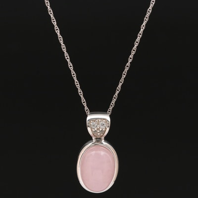 Sterling Rose Quartz and Topaz Pendant Necklace