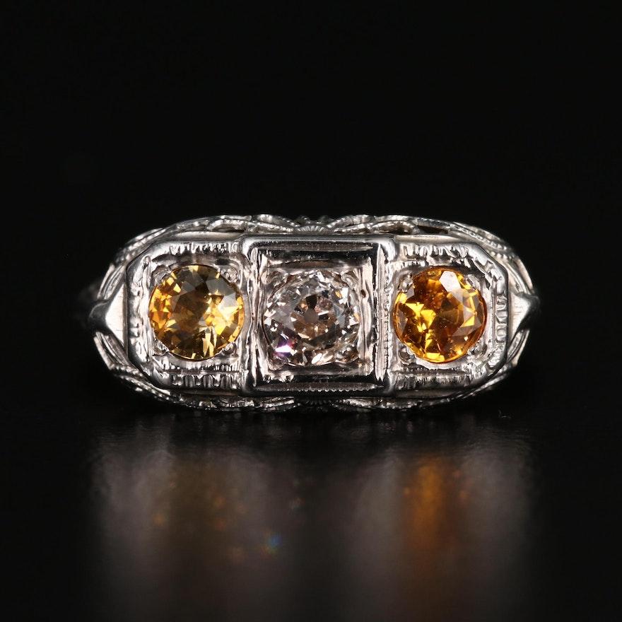 1930s 14K Diamond and Sapphire Ring