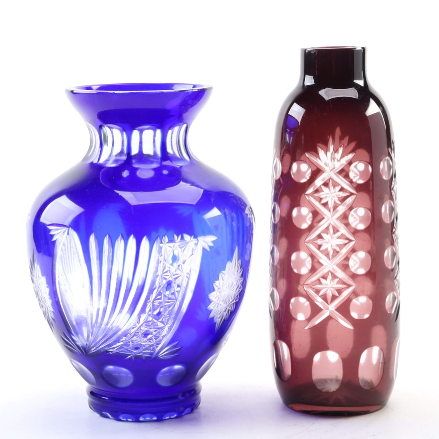 Bohemian Style Cobalt and Amethyst Cut to Clear Glass Vases