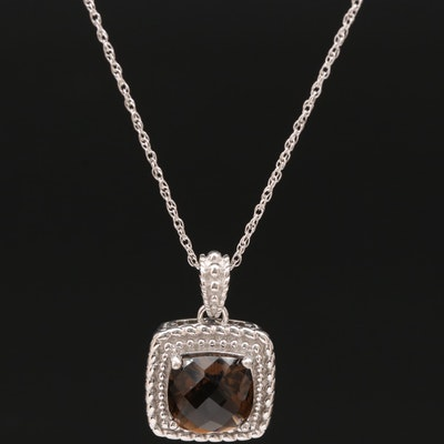Sterling Silver Smoky Quartz Square Pendant Necklace