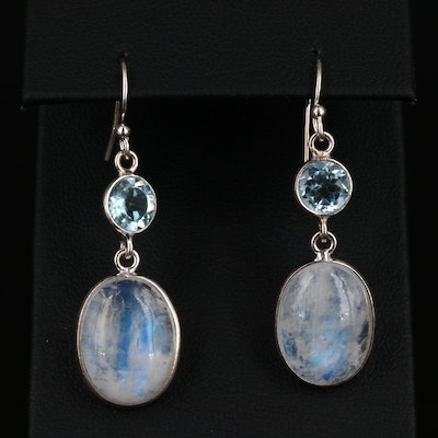 Silpada Sterling Silver Rainbow Moonstone and Topaz Dangle Earrings