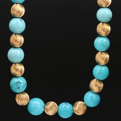 Vintage 14K Gold and Turquoise Beaded Necklace