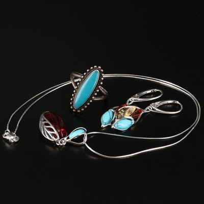 Sterling Silver Turquoise and Amber Jewelry Assortment