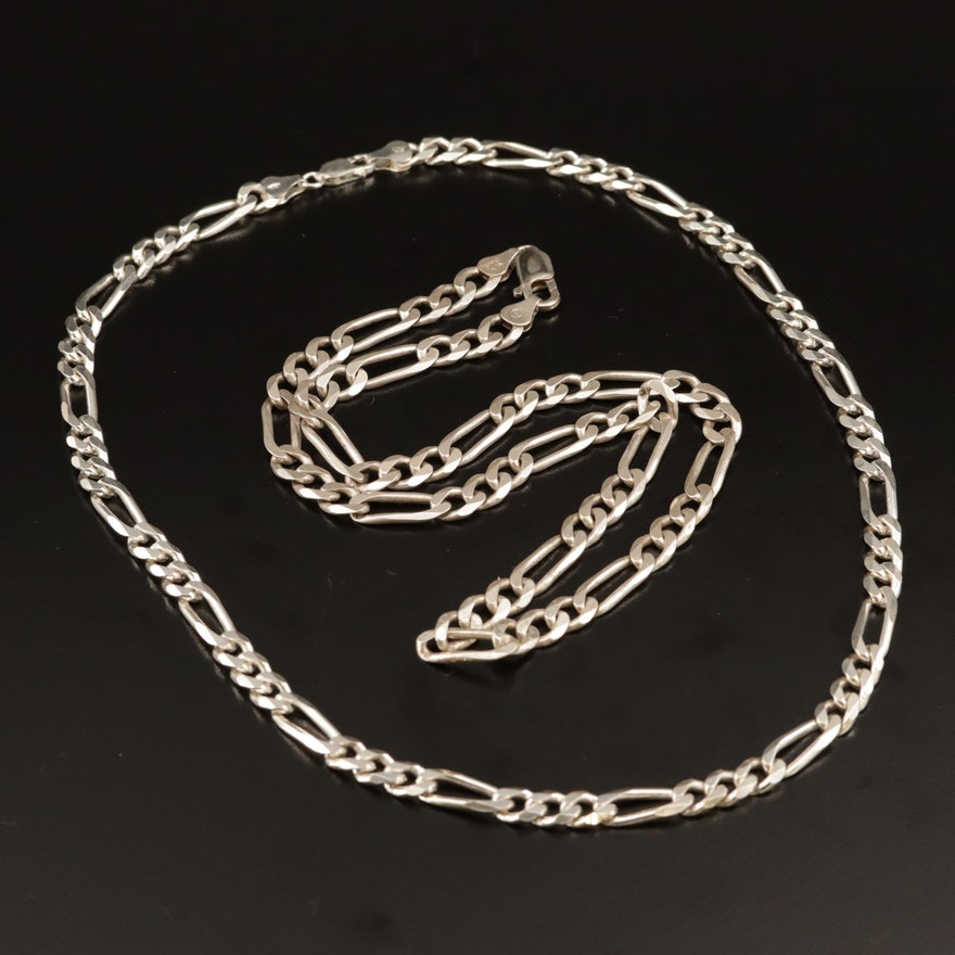 Sterling Silver Figaro Chain Necklaces