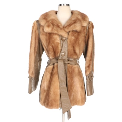 Mink Fur and Taupe Leather Belted Jacket from Furs by Baum, Vintage