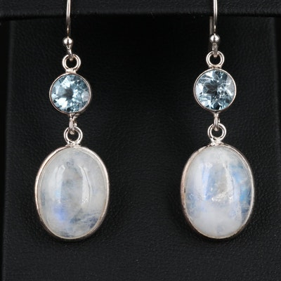 Sterling Silver Rainbow Moonstone and Topaz Drop Earrings