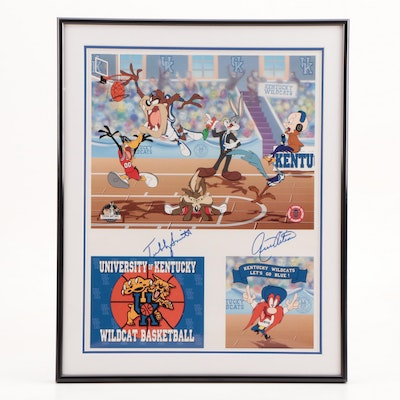 Rick Pitino and Tubby Smith Signed Warner Toon Art Kentucky Framed Display PSA