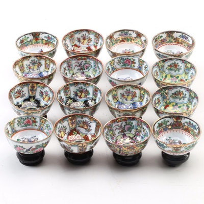 Chinese Miniature Porcelain Bowls on Wood Bases with Presentation Boxes