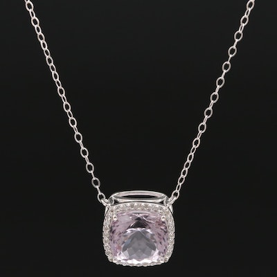 Sterling Silver Amethyst and Topaz Pendant Necklace