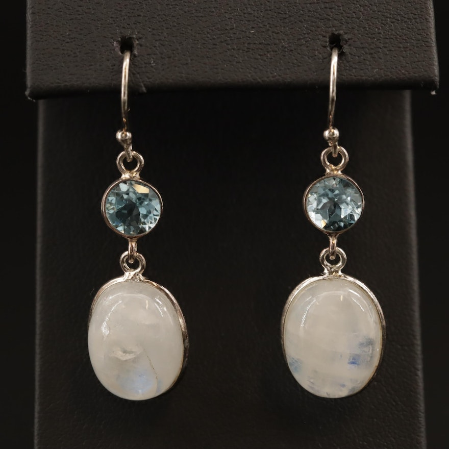 Sterling Silver Moonstone and Topaz Dangle Earrings