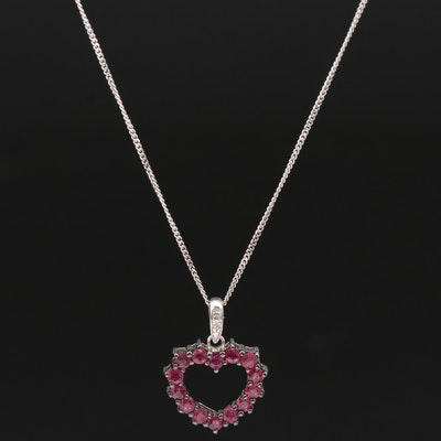 Sterling Silver Ruby and Diamond Heart Pendant Necklace