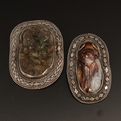 Sterling Emerald in Host Rock and Agate Converter Brooches