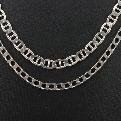 Sterling Silver Chain Necklace Featuring Mariner and Flat Curb Link Styles