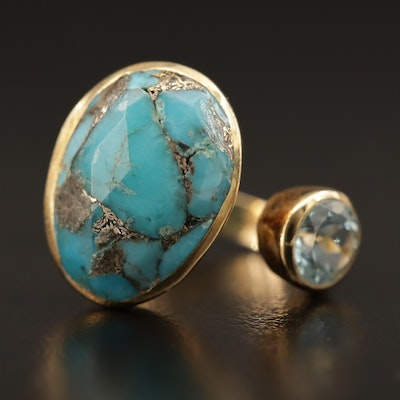 Sterling Silver Turquoise and Topaz Cuff Ring