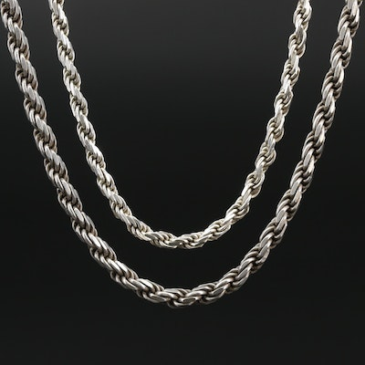 Pair of Sterling Silver Rope Chains