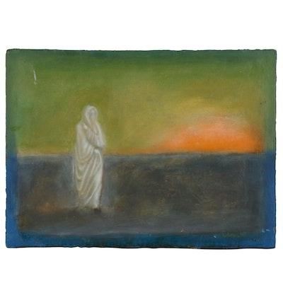 "Blair Gibeau Abstract Mixed Media Artwork ""Mrs. Lot"", 1997"
