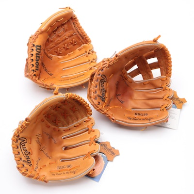 Rawlings and Wilson Leather Baseball Gloves, Old Stock, Hall of Fame Players