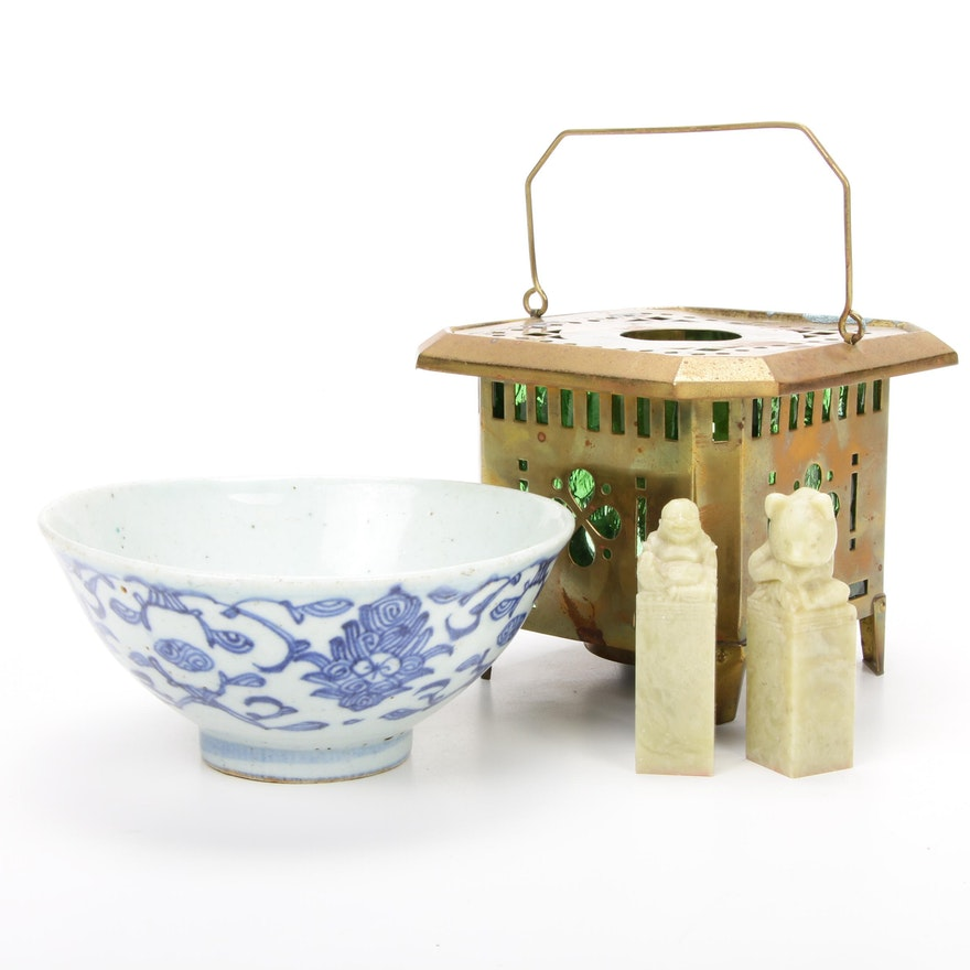 Chinese Carved Soapstone Stamps, Porcelain Bowl, and Brass Censer