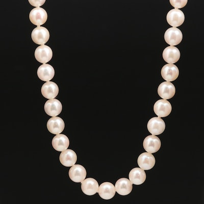 Hand Knotted Round Pearl Necklace with 14K Clasp