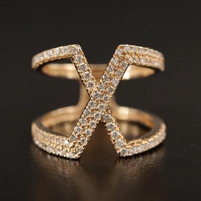 "14K Diamond ""X"" Ring"