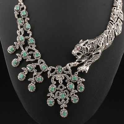 Sterling Silver Emerald, Marcasite, and Ruby Link Necklace with Tiger Motif