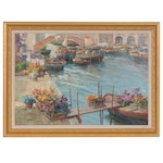 Guido Gnocchi Oil Painting of Venice Canal Flower Market Boats, 20th Century