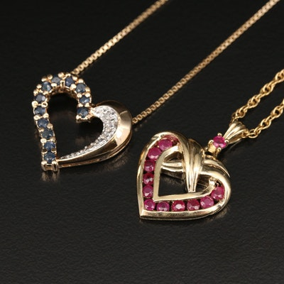 Sterling Silver Heart Pendant Necklaces with Ruby, Sapphire and Diamond