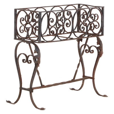 Scrolled Wrought Iron Patio Planter Stand