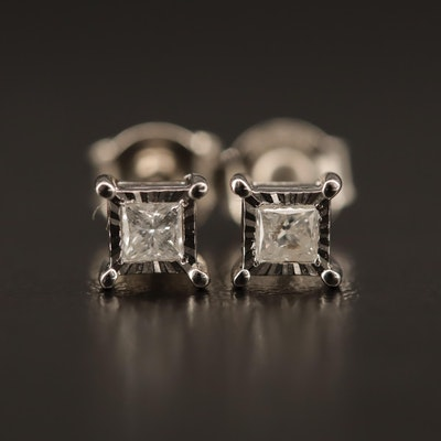 Sterling 0.20 CTW Diamond Stud Earrings