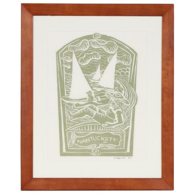 "Folk Art Woodblock Print ""Nantucket"", 2004"
