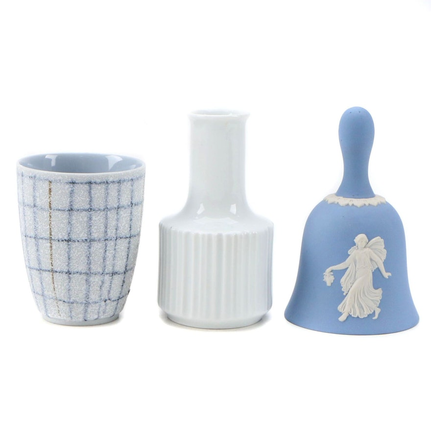 Wedgwood Blue Jasperware Bell, Rosenthal Porcelain Bud Vase and Ceramic Bud Vase